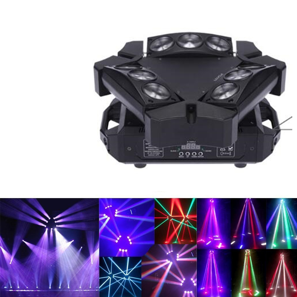 Fast Shipping Mini LED Beam Spider 9x10W RGBW Moving Head Lighting LED Stage Light Good For Parties DJ Disco Wedding Decoration