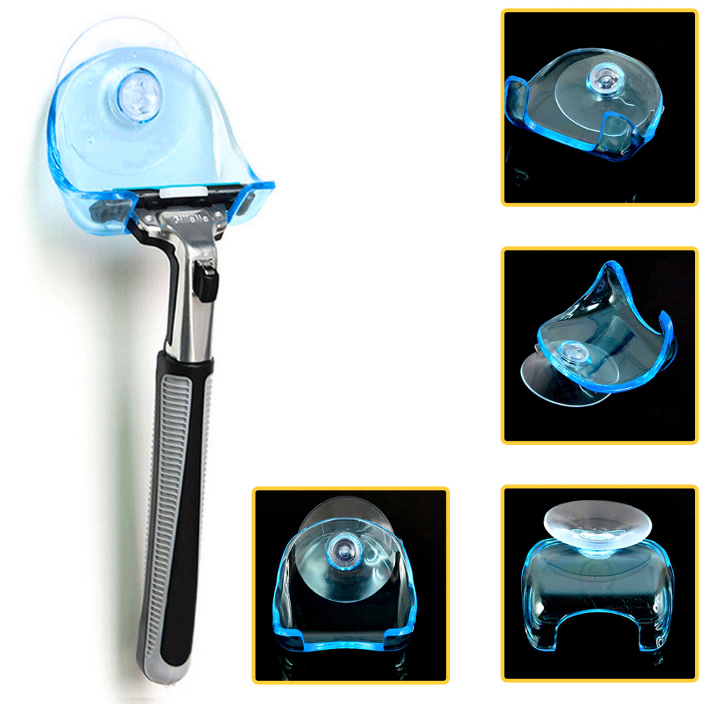 Plastic Clear Blue Super Suction Cup 1PC Razor Holder Shaving Razor Rack Wall-mounted Shaver Shelf Bathroom Cupula Set