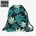 who cares 3D Printing backpack women black weed Travel Drawstring bag mochila feminina backpacks Vogue Trend Line Brand Mochila