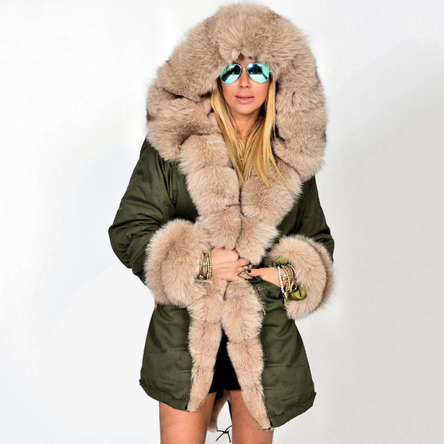 e1d8154b4b80 Camo Military Fur Collar Women Parka Winter Hooded Faux Fur Liner Thick Warm  Jacket Coat 2018 Autumn Overcoats Plus Size 5XL