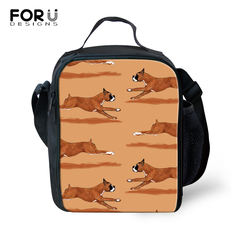 FORUDESIGNS Hot Sales! Kids Tote Lunch Bag Large Capacity Thermal Food Picnic Lunch Bags for Women Boxer Dog Pattern Lunchbags image