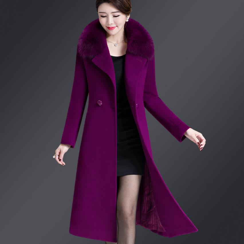 ed4f49fdd5 Las Mediana Piel La Lana Mujeres Madre Chaqueta Edad purple Abrigos  Cachemira wine Doble Invierno Breasted ...