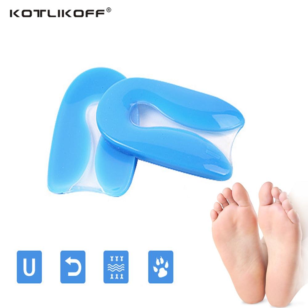 KOTLIKOFF Silicone Gel U-Forme Plantaire Fasciite Talon Protecteur Épine Calcanéenne Coussin Pad Chaussures Inserts Semelle pour Hommes Femmes