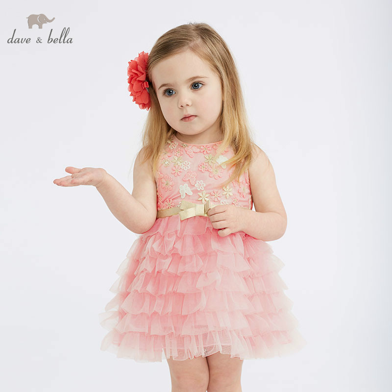 DBM10312 DAVE BELLA summer baby girl princess clothes children birthday party wedding dress kids embroidered boutique