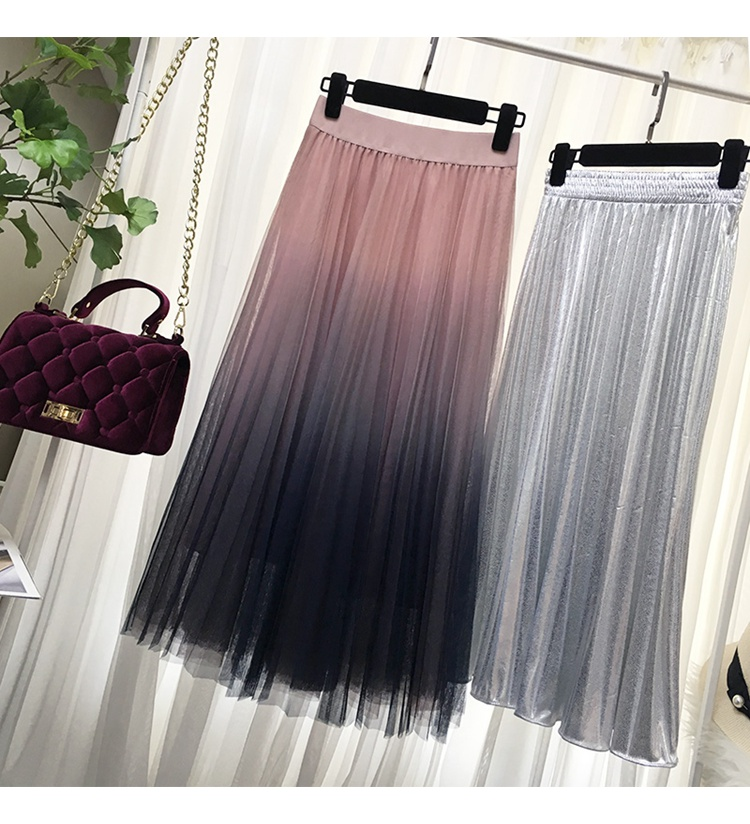 HTB10 4sQMHqK1RjSZFgq6y7JXXaA - Surmiitro Long Tulle Skirt Women Spring Summer Gradient Korean Elegant High Waist A-line Pleated School Midi Skirt Female
