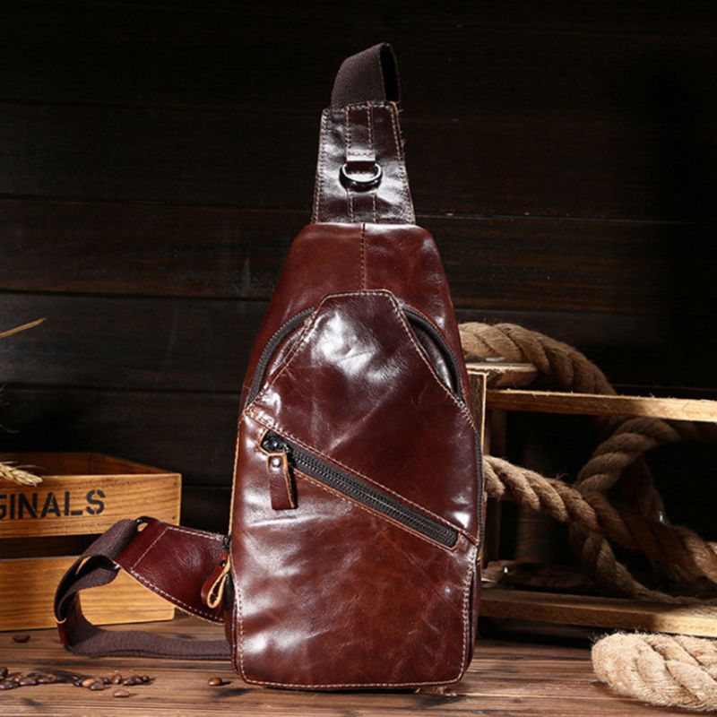 Men Oil Wax Genuine Leather Cowhide Vintage Sling Chest Back Day Pack Travel Messenger Shoulder Cross Body Bag high quality men genuine leather cowhide vintage sling chest back day pack travel fashion cross body messenger shoulder bag