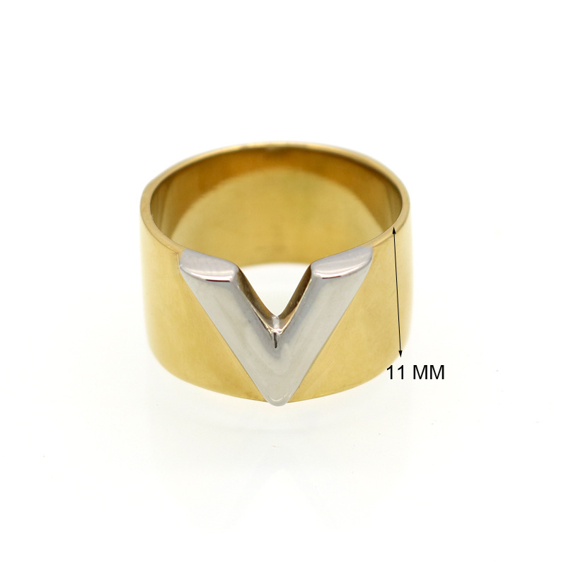 China Online Shopping Website Stainless Steel Plated V Letter Party Ring image