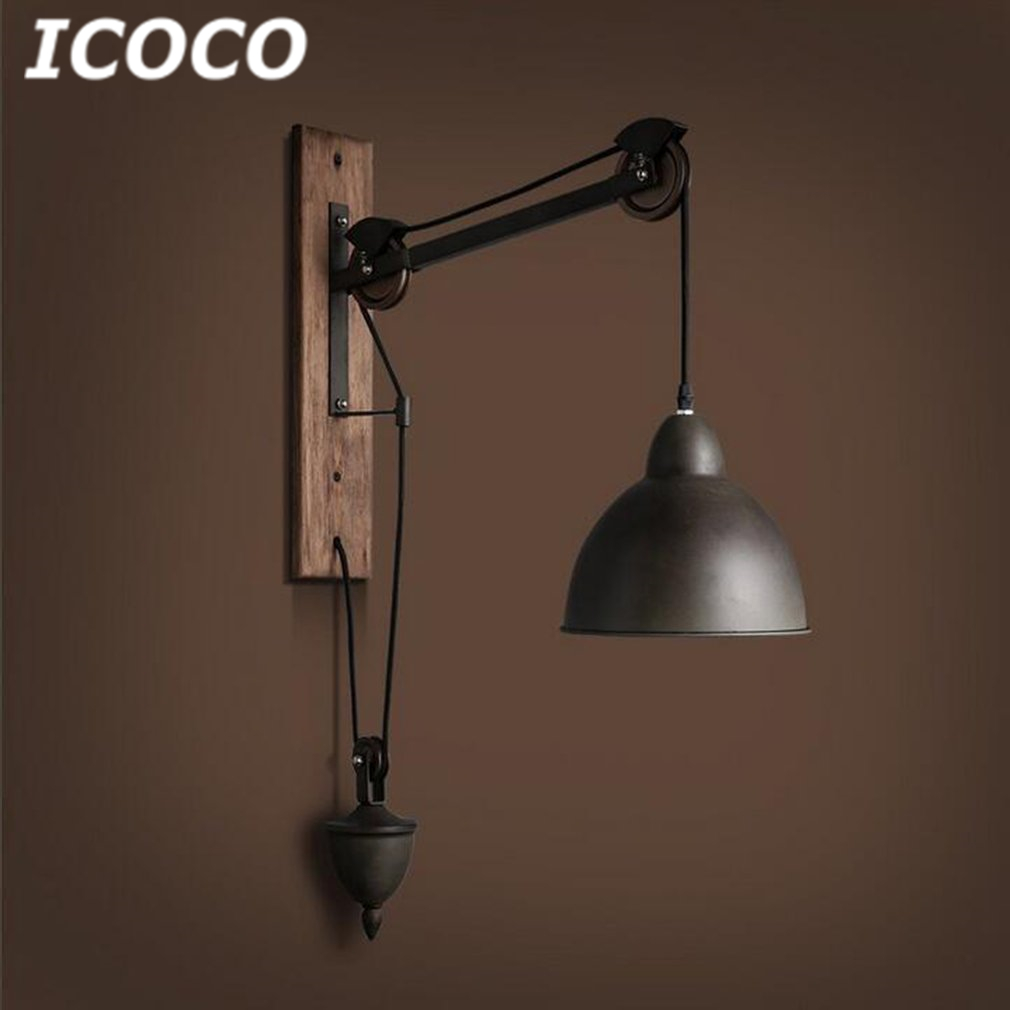 ICOCO Vintage Loft Minimalist Wooden Long Arm Wall Lamp with Adjustable Handle Metal Rustic Light Fixtures Without Bulb HOT Sale