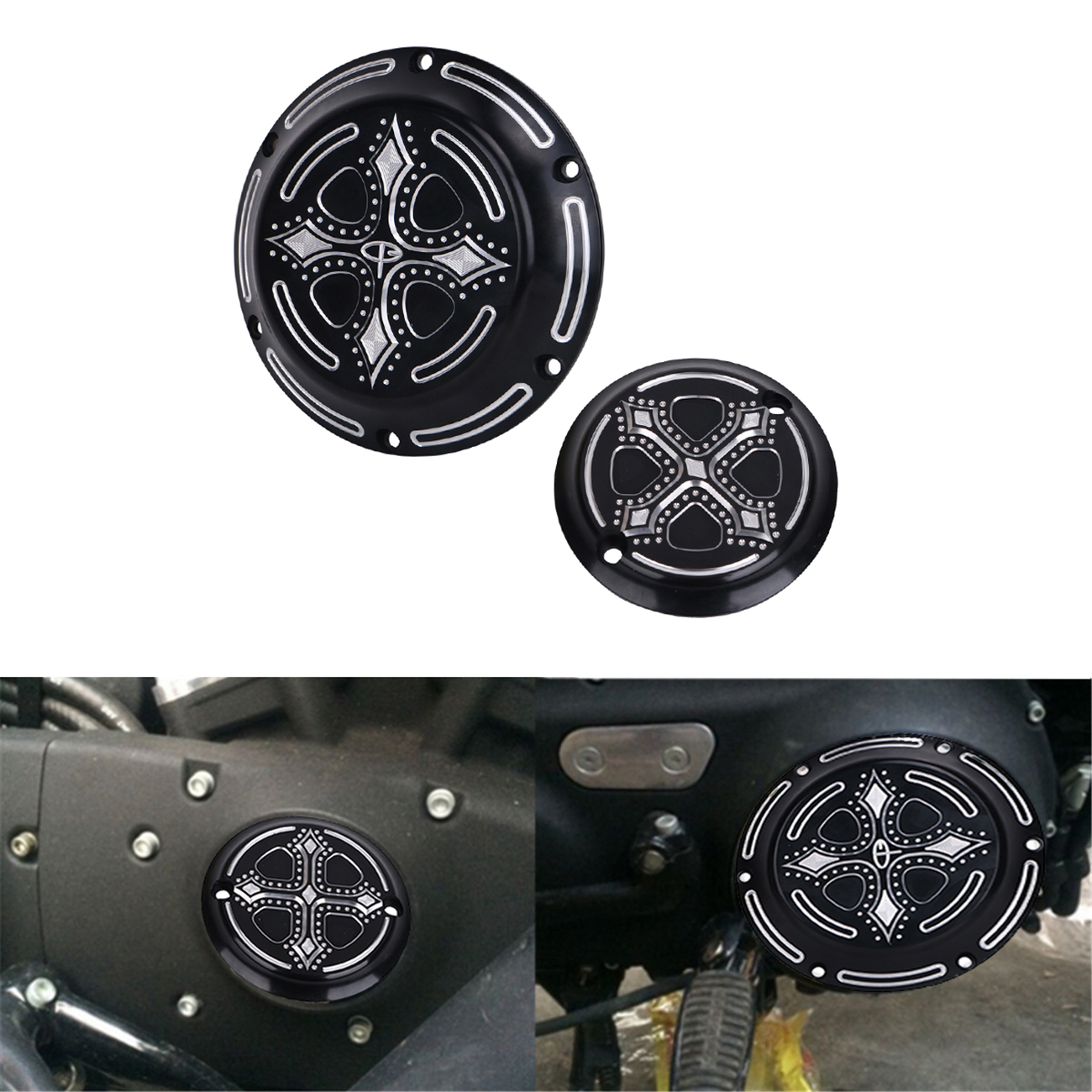 Motorbike CNC Deep Cut Crow Cross Heart Derby Timing Timer Cover Engine For Harley XL XR Sportster 883 1200 XL883 XL1200 #MBJ327 mtsooning timing cover and 1 derby cover for harley davidson xlh 883 sportster 1986 2004 xl 883 sportster custom 1998 2008 883l