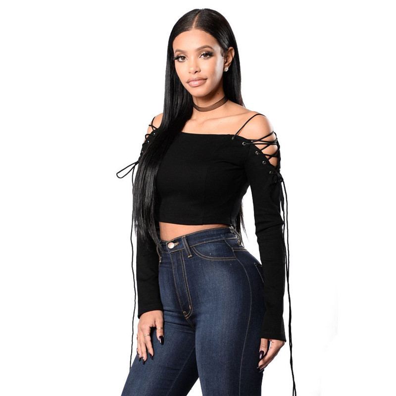 Sexy Stylish Women Summer Loose Casual Off Shoulder Slash Neck Bandage Strap Solid Shirt Crop Tops Blouse Ladies Tops Pullovers
