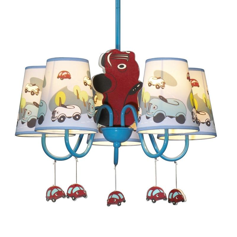 Boys Cartoon Car Bedroom Chandelier Lamp Mediterranean Kid