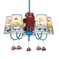 Boys Cartoon Car Bedroom Chandelier Lamp Mediterranean Kid's Room Hanging Lights Children Chandelier Fixtures