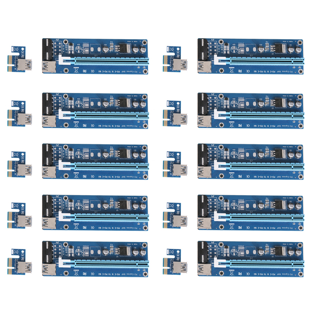 10pc Upgraded USB3.0 PCI 1x to 16x Express Riser Board PCI-E Extender SATA Adapter Card Cable SATA to 4 Pins Power for BTC Miner