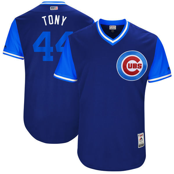 MLB Для мужчин Чикаго Кабс Энтони Риццо мировой серии Лиги игроков выходные подлинный Джерси