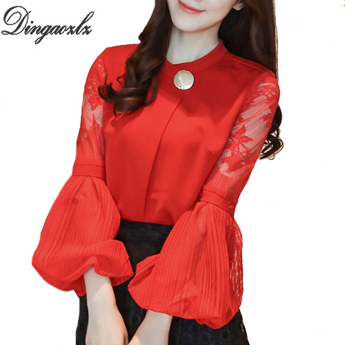 Dingaozlz lantern sleeves chiffon OL shirt hollow out stitching women tops 2018 autumn new Korean lace blouse