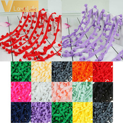 5Yards Sewing Accessories 10mm Lace Pompom Trim Pom Pom Tassel Ball Fringe Ribbon DIY Materials Apparel Fabric Cord