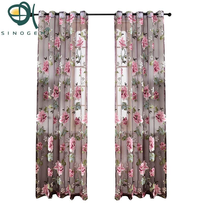 Sinogem bloemen tulle printrd vitrages voor de woonkamer de - Thuis textiel