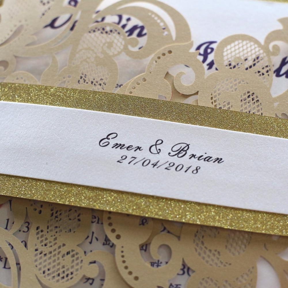 Handmade Wedding Invitation Gold Laser Cut Invitation Cards European ...