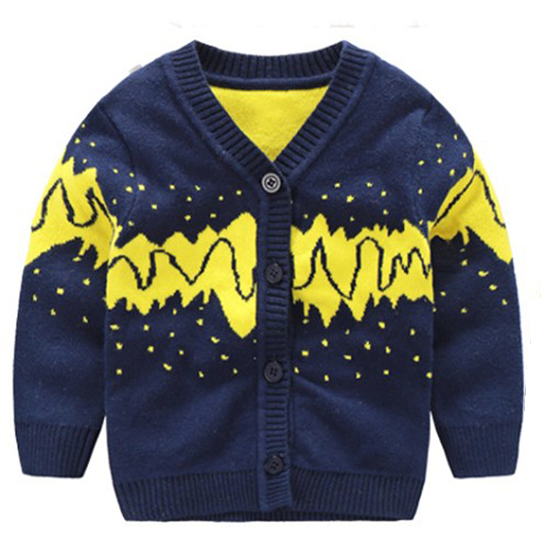 Warm Cotton Baby Sweater Cardigan Coat Boy V-neck Top Long Sleeve Toddler Clothes Newborn Coat Autumn Winter Baby Boys Clothing