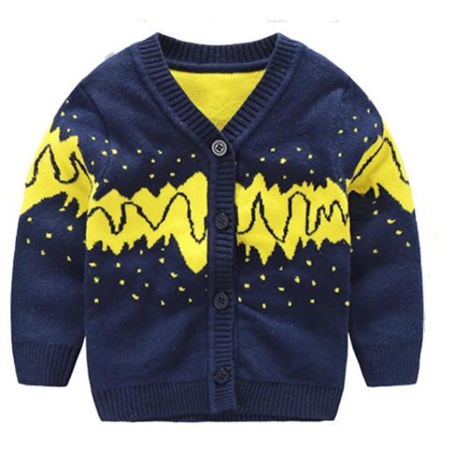 ee66cd39c Warm Cotton Sweater Geometric Cardigan Tee Boy s V neck Top Long ...