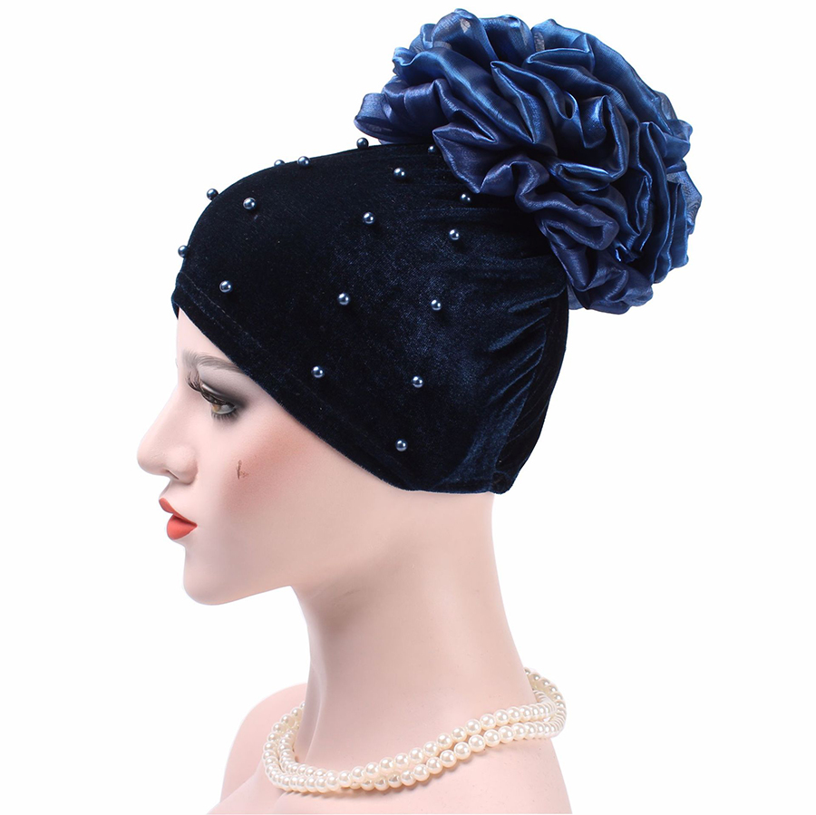 4c7fae19380 Fashion Flower Pompon Turban Beanie Hat For Women Pearl Head Wrap Red  Turban Hat Wholesalers Velvet Winter Hats Muslim WH301-in Skullies   Beanies  from ...