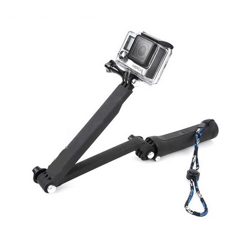 For GoPro Accessories Monopod 3-Way Multi-function Folding Arm Lever Tripod Mounts for GoPro SJCAM SJ4000 sj5000 Xiaomi yi EKEN