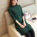 43 new Korean women in a long knit sweater Beaded shirt hem slit F1465