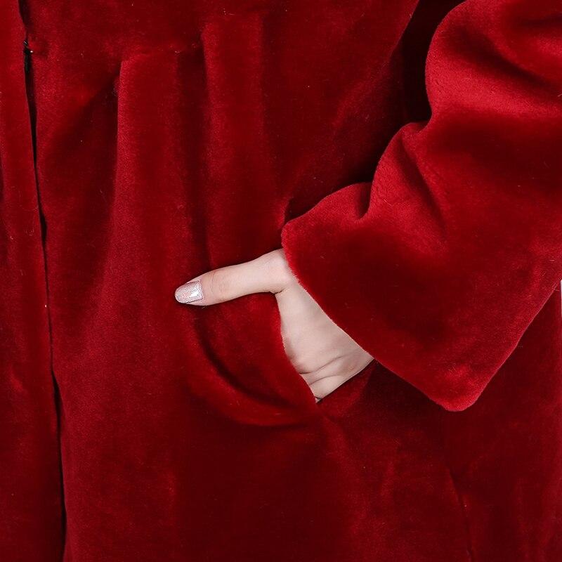 Outwear Laine Longues Réel Rouge De Moyen noir Manches Mouton Manteaux green Chaud Ayunsue D'hiver Des Manteau Wyq1565 À Femmes Fourrure Naturel Et Vestes ETgqgUwtR