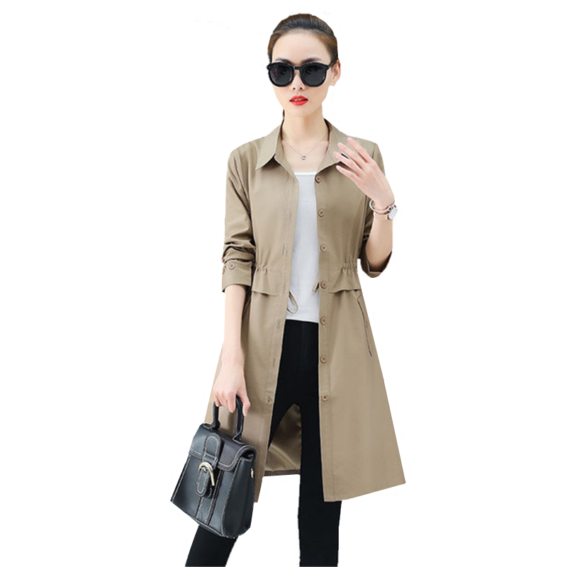 2019 Spring Autumn Thin   Trench   Coat Women Overcoat Fashion New Womens long windbreaker Long-sleeve Casual Slim Ladies Outerwear