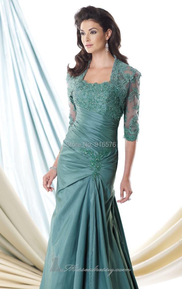Black Dark Aqua Taffeta Lace Mother Gown Mother Of The Bride Dresses ...