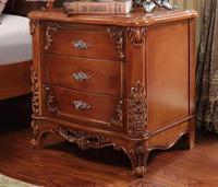 European Style Bedside Cabinet, Solid Wood Bedside Cabinet, Drawers, American Bedroom Bedside Cupboards