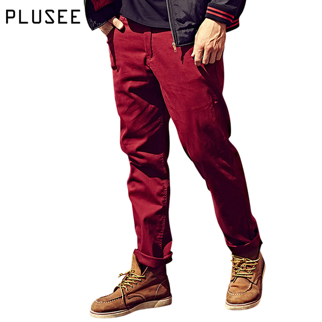 Plusee cargo pants men casual trousers men straight 2017 spring plus size pockets khaki loose red big size cargo pants men S-6XL