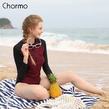 Женский купальник с длинным рукавом charmo молнией спереди лоскутный