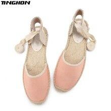 TINGHON Fashion Women Ladies Espadrille Shoes Canvas Pink Rome Ankle Strap Hemps Flats