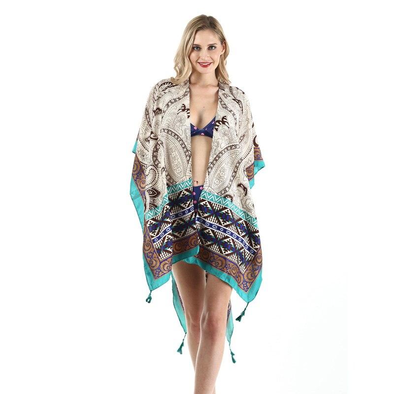 Women Summer Swimsuit Bikini Cover Up Sexy Beach Cover Ups Chiffon Tassels Dress Elegant Beach Bathing Wrap Pareo Wear Tunic