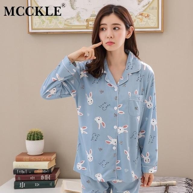 7fe8fa21e8 MCCKLE Women Long Sleeve Cotton Pajama Sets 2018 Autumn Winter Printed 2  Pieces Pyjamas Suit Female Sweet Sleepwear Homewear