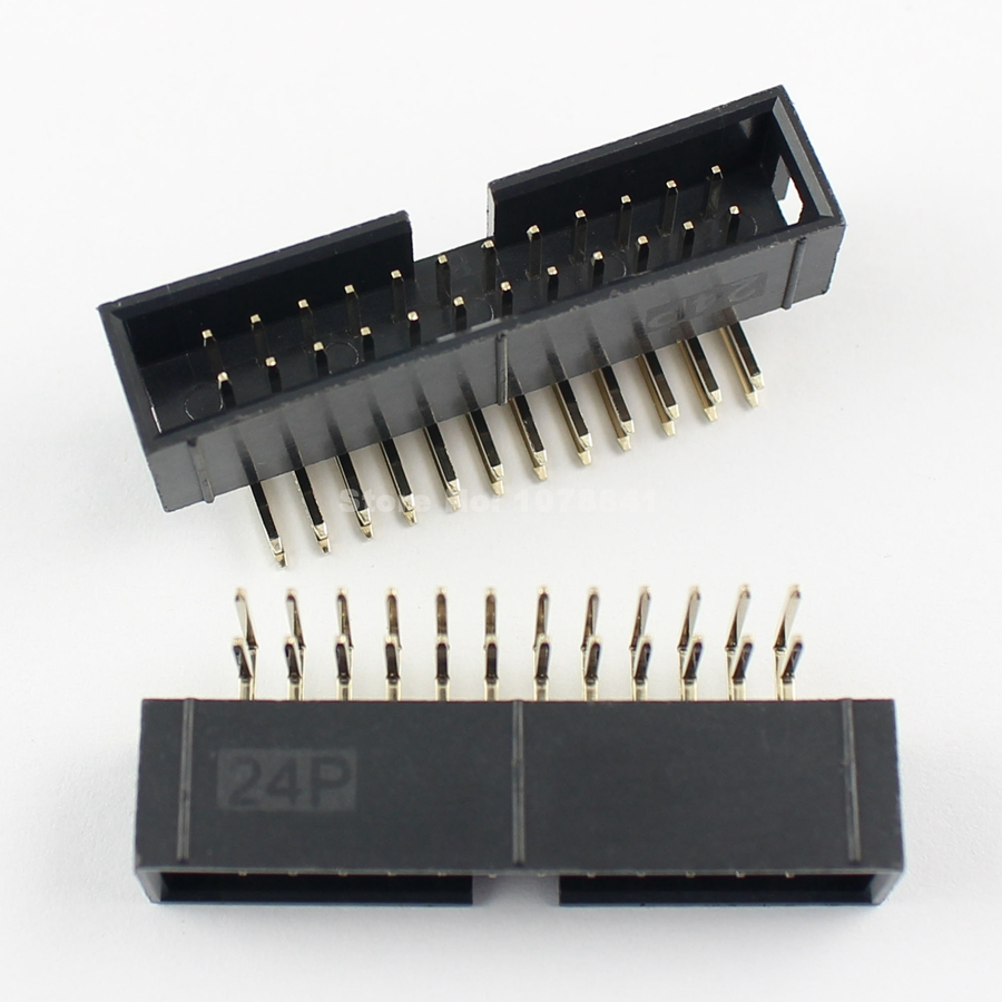 10 Pcs Per Lot 2.54mm 2x12 Pin 24 Pin Right Angle Male Shrouded IDC ...