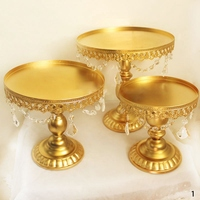 Exquisite 3Pcs Set Round Metal Crystals Cake Stand Dessert Candy Holder Candle Holder For Wedding Party