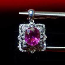Fine Jewelry 18 K Gold AU750 Natural 100% nature Purple Sapphire 1.06ct Gold Diamond Pendant Gemstone Necklaces for Women(China)