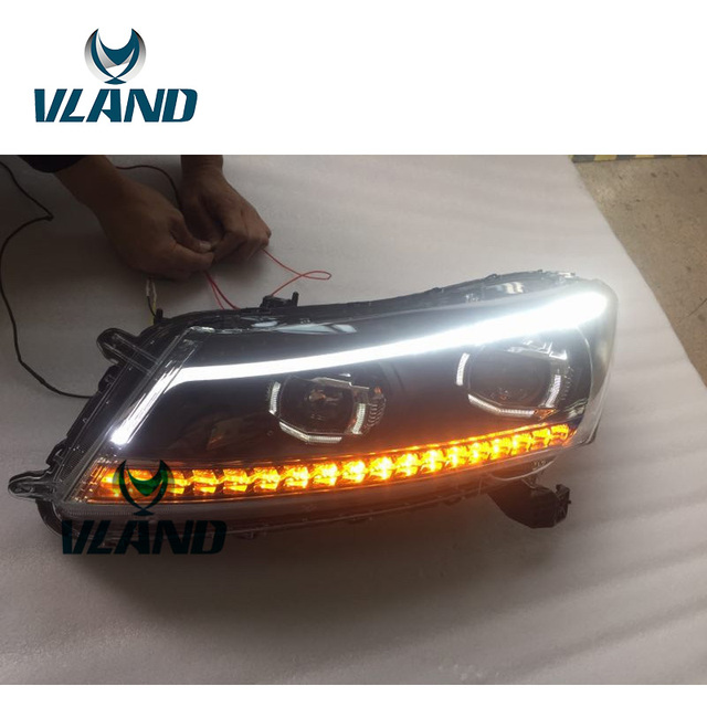 Vland Factory For Car Head Lamp Honda Accord Led Headlight 2008 2009 2010 2017 With Moving Signal Light