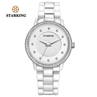 STARKING Women Clock Quartz Watch Luxury Diamond Bracelet Watches Geneva White Rose Gold Rhinestone Ceramic Wristwatches Dress