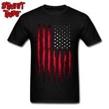 Cowboy USA Flag T-shirt Men Striped T Shirt Red Tops Guys Cotton Shirts America Flag Print Clothes Team Punk Tees Wholesale