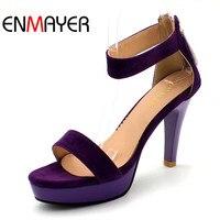 ENMAYER Big size 34-43 Phụ Nữ Dép Gladiater Ankle Quai Cao Gót Summer Red Shoes Màu Đen Hở Ngón Nền Tảng Lady Dép