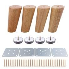 4 Uds. Muebles con patas de madera cónicas oblicuas de 120mm de altura, sofá de mesa fiable, sillón de tocador, pie de madera de roble, regalo