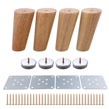 4pcs 120mm Height Wooden Furniture legs Oblique Tapered Reliable  Sofa Table Feet Couch Dresser Armchair foot Oak Wood More gift