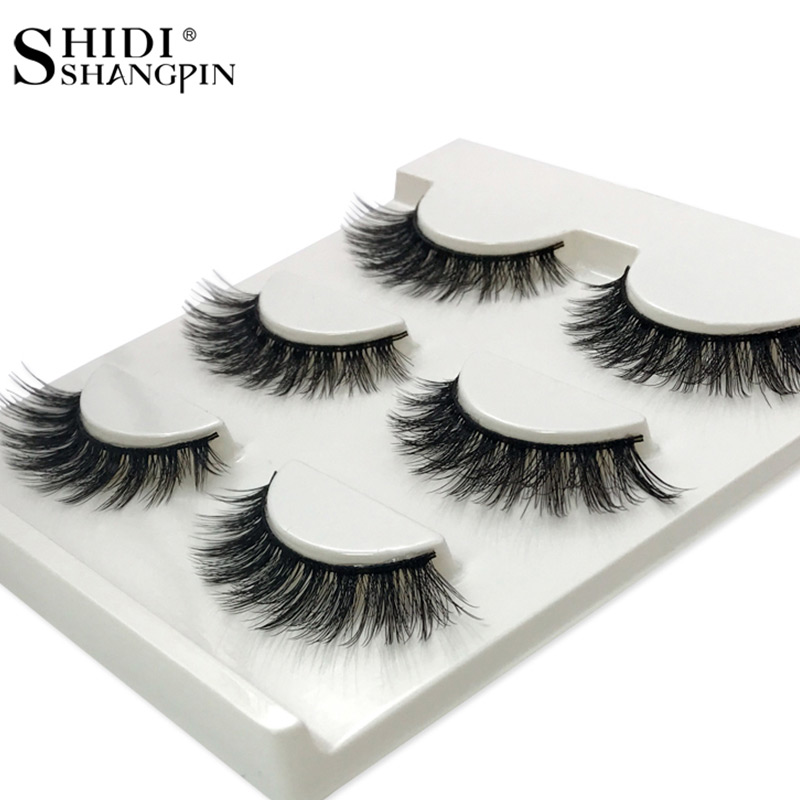 SHIDISHANGPIN 3 Pairs Mink Eyelashes Natural Long Eyelashes 10mm Handmade False Lashes False Eyelashes 3d Mink Lashes Cilios