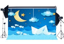 Süße Baby Dusche Hintergrund Ozean Segeln Kulissen Twinkle Sterne Fisch Boot Bokeh Dots Blau Sky Weiß Hintergrund