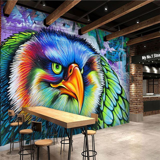 beibehang Color owl graffiti custom wall art painting mural