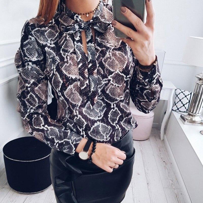 Мода лето плюс Размеры принт Шифоновая блузка Blusas Femininas Для женщин топы Bow Tie блузки элегантный шифон Топы
