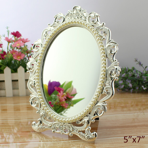 Genial Wedding Favors Rose Design Silver Pearls Accents Oval Zinc Alloy Framed 5x7  Inch Tabletop Mirror